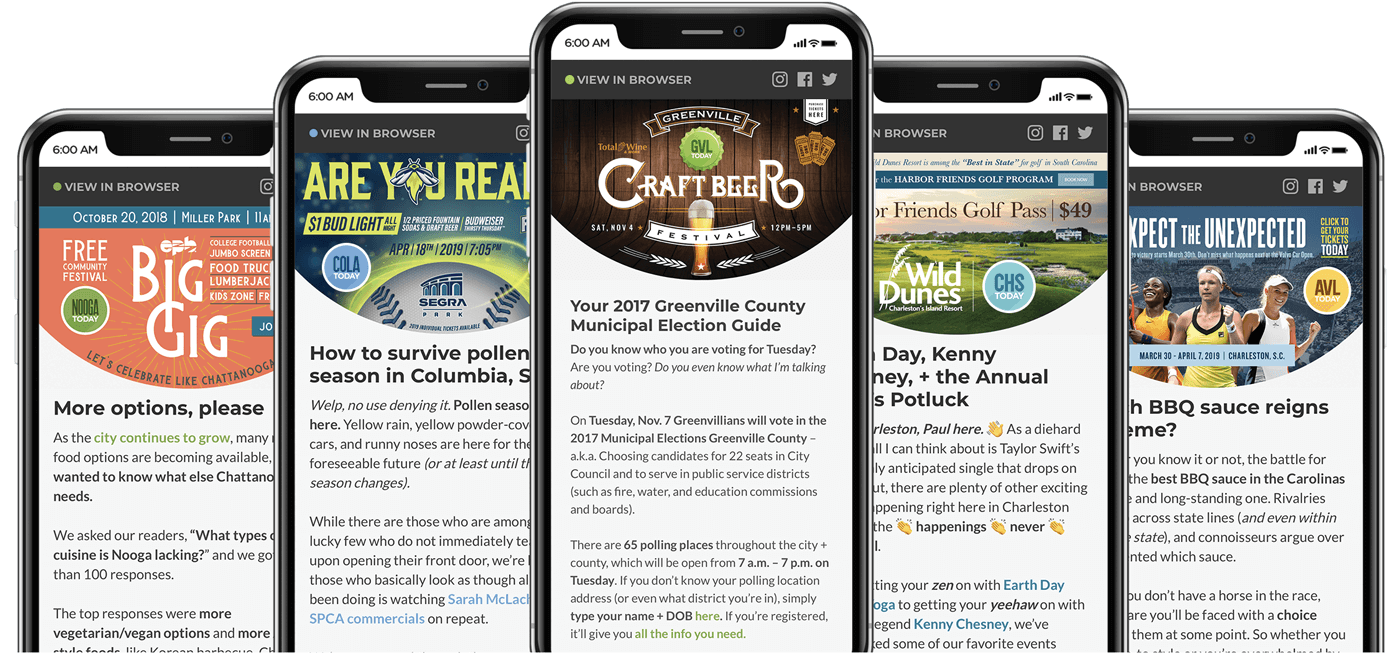 Examples of 6AM City Newsletters